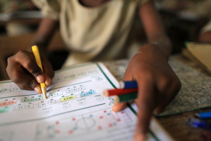 Schoolchildren. Primary School Adjallé. Cours de mathématique. Lomé. Togo.